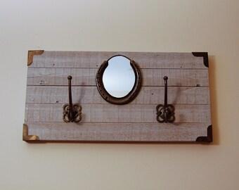 Coat Rack with Horseshoe Mirror // Tack Rack // Equestrian Decor