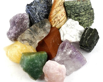 Crystal Allies Materials 3 Pounds Bulk Rough 10-Stone Assorted Brazilian Mix Natural Raw Stones for Cabbing, Cutting,and much more