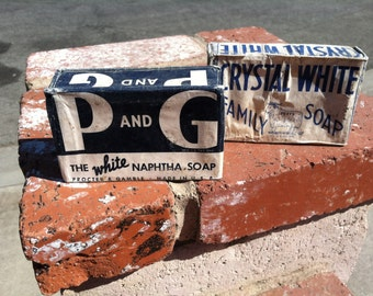 "Vintage 40's ""CRYSTAL WHiTE"" Soap Bar - ""P & G"" White Naphtha Soap Bar"
