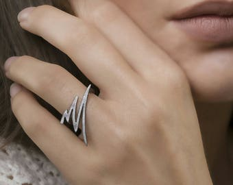 Minimal Ring, 925 Silver Ring, Contemporary Jewellery, Modern Ring,Textured Ring,18K Gold Plated