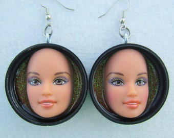 Upcycled BROWN eyed Barbie doll face earrings - black caps