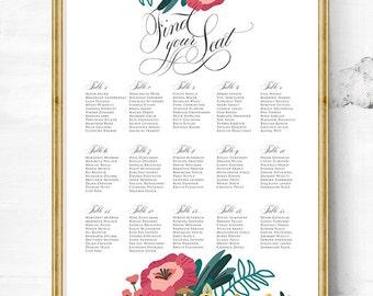 Wedding seating Chart - Wedding seating plan - Seating chart poster - Seating chart wedding - Reception seating - seating chart sign - Guest