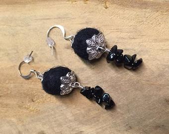 Fiber & Metal Earrings - Jet Black/Silver