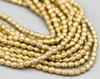 "African Brass Bicone Beads 4mm from Ethiopia 180 Beads on 31"" Strand Ethnic Tribal Bead Supplies SKU-MOV4B-209"
