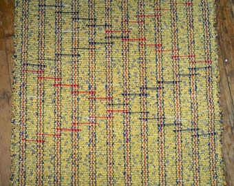Handwoven Rag Rug - Harvest Gold w/ Red and Navy Inlay - Inv ID#03-0381