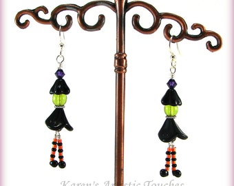 Halloween BOO Witch Earrings Orange Black Surgical Steel Ear Wires