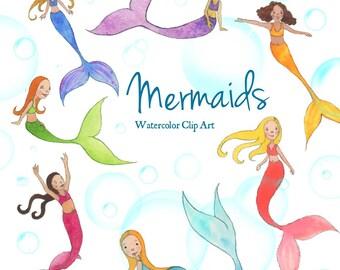 Mermaid Watercolor Clip Art - Little Mermaids Clip Art - Kids Mermaid Clip Art - under the sea clip art - Instant Download PNG JPG