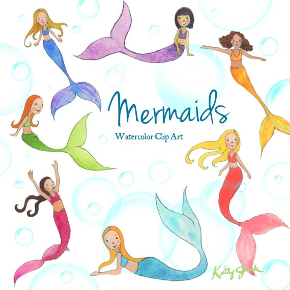 mermaid watercolor clip art little mermaids clip art kids rh etsystudio com under the sea clip art free under the sea clipart black and white