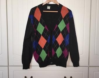 Vintage United Colors of Benetton Argyle Wool Cargidan Medium