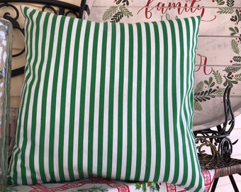 Green and White Striped Pillow Cover