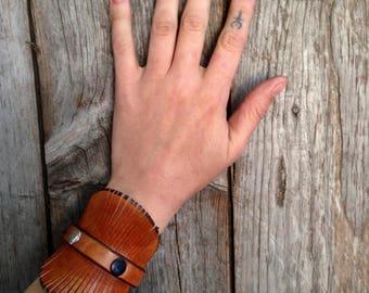 Handmade leather cuff bracelet / leather cuff / leather cuff for her / leather cuff with tassels