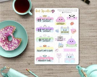 Cute Birthday Countdown Stickers birthday labels birthday gifts for her birthday stickers birthday stickers for planner ready to ship