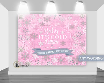 DIGITAL Printable Backdrop Winter Wonderland|| Winter Baby Shower  Backdrop|| Customizable|| Any Wording|| You Print The Files