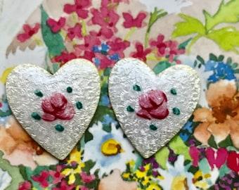 Vintage Guilloche hearts,Enamel Hearts,heart Cabochons,Rose Flowersenameled hearts,Pink shabby Flower Heart Large. #1594Bvintagerosefindings