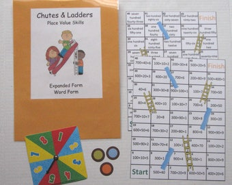 Teacher Made Math Center Learning Resource Game Place Value Chutes & Ladders