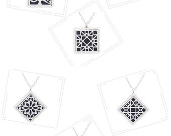 Square and Diamond Aromatherapy Diffuser Locket/Pendant 30mm (Tree of life -Flower petal - Abstract)