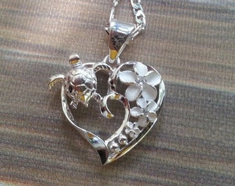 Sterling silver  heart Hawaiian Sea turtle ,plumeria flower necklace ! Sea turtle necklace ! Turtle necklace. Gift for her .
