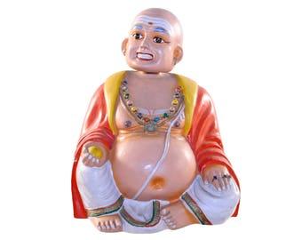 Vintage Smiling Buddha, Large Paper Mache