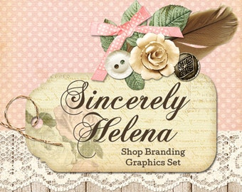 Shabby Chic Shop Branding Banners, Avatar Icons, Business Card, Logo Label + More - 13 Premade Graphics Files - SINCERELY HELENA