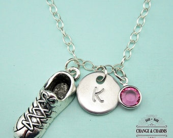 Custom Running Shoe Charm Necklace, Running Necklace, Sterling Silver, Charm Necklace,Birthstone, Monogram Necklace, Gift, CHH004