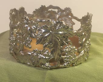 Vintage Arthur Court Grape Leaves and Bunnies Silver and Wood Wine Caddy
