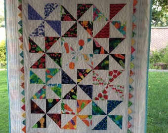Baby Quilt Pinwheel Prairie Points - Baby Shower Gift- Free Shipping