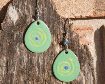 Enameled Green Earrings with Lapis