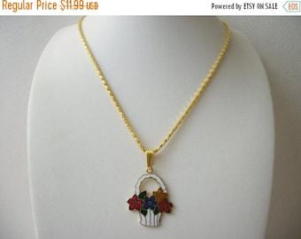 ON SALE Vintage 1960s Cloisonne Gold Tone Flower Basket Necklace 10217