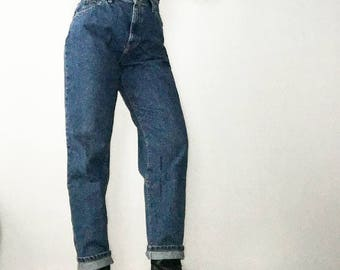 High Waist Jeans 80s Vintage Lee Mom Jeans 28 Waist 10 Large High Waisted Lee Riders Tapered Ankle Dark Wash Denim Blue Jeans 90s Mom Jeans