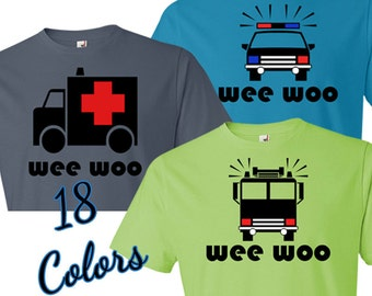 Wee Woo T-Shirt, Police Car, Ambulance, Firetruck Vehicles - 18 Colors