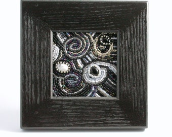 Beaded Mixed Media - Midnight Whirl, Art, Beaded Painting, Black,White, Silver, Seed Beads, Cabochons, Framed Art