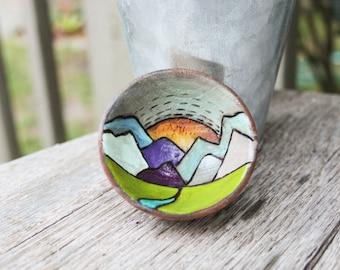 Tiny Woodburned Bowl - Ring Bowl - Trinket Holder