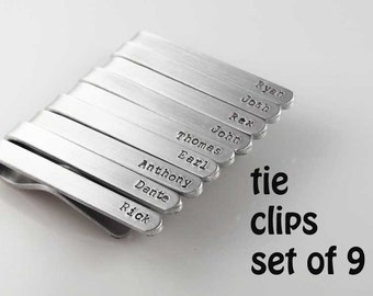 custom tie bar |personalized te clip set of 9 groomsmen wedding gift silver aluminum tie clips