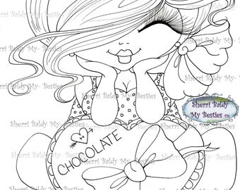 INSTANT DOWMLOAD Digital Digi Stamps Big Eye Big Head Dolls Digi Img031  New Fluffy Besties Tm  By Sherri Baldy
