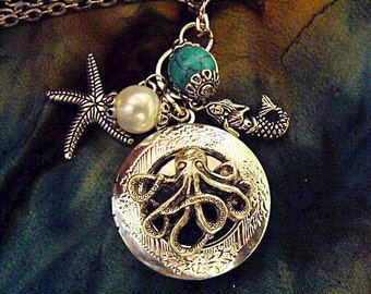 Silver Locket Necklace,  Steampunk Octopus With Pearl,  Turquoise Bead, And charms  Womens Gift Handmade