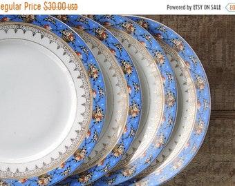 ON SALE weiß und Block blau und weiß Bread And Butter Teller Set von 4 Dessert Teller Tee Party Teller Bauernhaus China Platten 7156 Czechosl