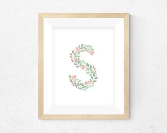 "Floral ""S"" Print, Initial Alphabet Print, Printable Wall Art, Custom Print, Instant Download, Print Gift, Nursery Print, Wedding Print"