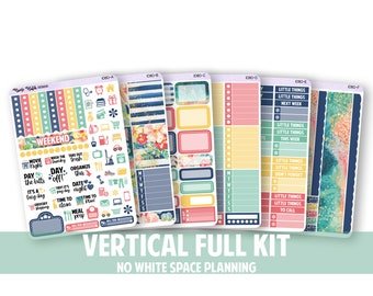 1080-FK // VERTICAL 6 Piece Full Kit - No White Space Planning // Good Vibes Collection // Planner Stickers