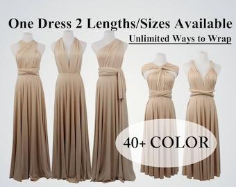 Champagne  bridesmaid dress long infinity dress short convertible bridesmaid dress infinity dress long maxi dress wedding dress