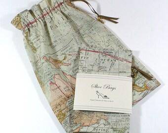 Shoe Bags, Travel, World Map, Sage Green, reusable bag, drawstring, cotton