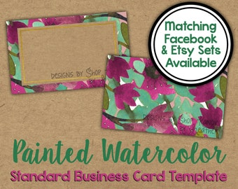 Watercolor Business Card - 2 sided Painted Watercolor Business Card - Vista Print Business Card Template - Watercolor Shop Graphics