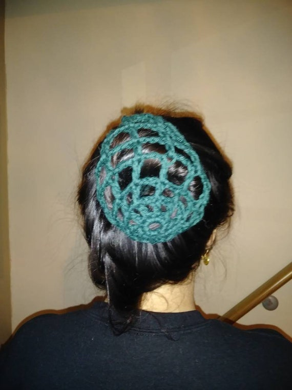 Crochet hair bun holder vintage style cotton yarn made to