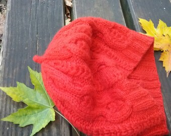Knit cap Beanie Poodle Beanie Merino Red