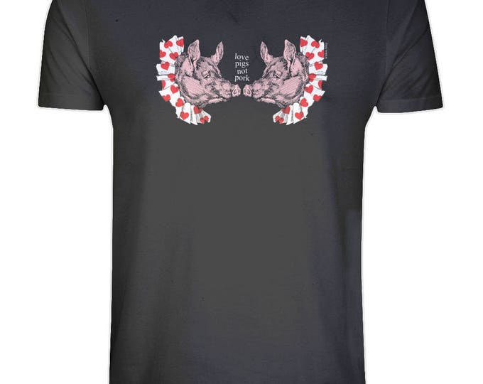 Vegan Vegetarian Love Pigs Not Pork Animal Rights Organic Cotton T Shirt. Black. Plus Sizes.