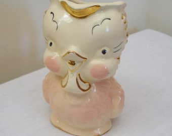 Vintage American Bisque Pink with Gold Chick Pitcher