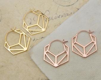 Geometric Earrings-Gold Earrings-Minimal Earrings-Gold Hoop Earrings-Modern Earrings-Rose Gold Earrings-Gold Stud Earrings-Hexagonal Studs