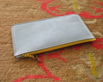 Rainbow pouch - Dusty blue nubuck leather with purple zip - phone case, coin purse, eyeglasses case