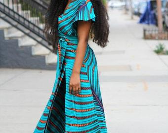 CAPE DRESS  -  Teal Orange African Ankara Wax Print Dress - 2 Fabric Choices