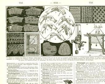 Knitting wall art 1922 Vintage Crocheter Gift for knitter Knitting art print Knitting art poster Fiber artist gift craft room wall decor