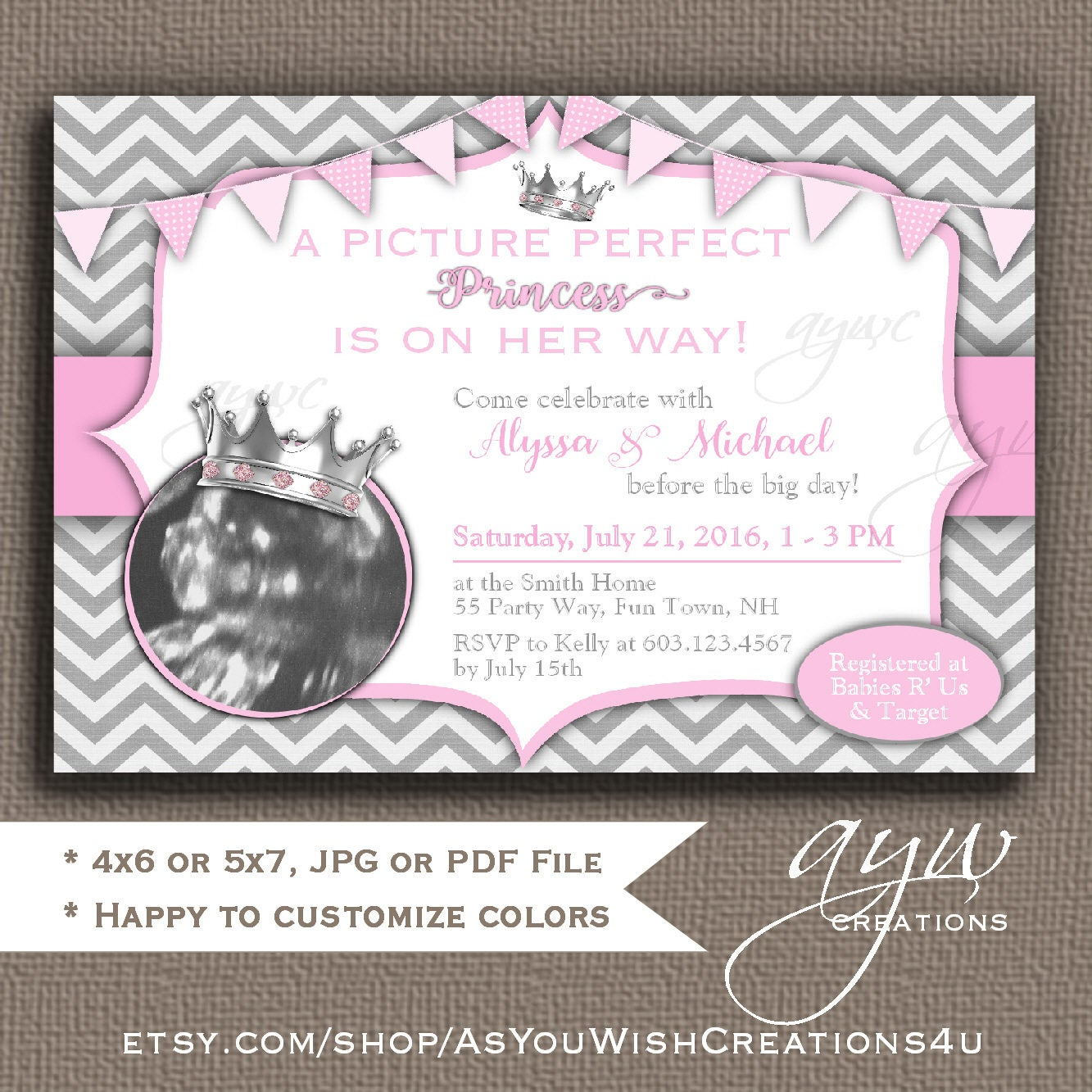 Princess Baby Shower Invitations Girl with Ultrasound Picture